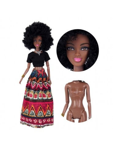 Girls Baby Movable Joint African Doll Toy